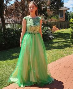 Illusion Beaded Neckline Ball Gown in Emerald Style 5058 by Miracle Agency Formal Evening Dresses, Prom Dresses, Princess Ball Gowns, Bridal And Formal, Champagne Color, Designer Gowns, Nude Color, Green Fashion, Formal Wear