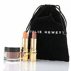 Julie Hewett Three-Piece Discovery Kit for Cheeks & Lips w/ Cosmetic Bag