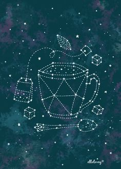 Tea Time Constellation  5x7 Art Print by ellolovey on Etsy, $12.00