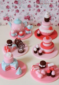 Juego de té de toppers cupcake