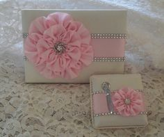 Ivory Satin Wedding Guest Book with Light Pink by AllAHeartDesires