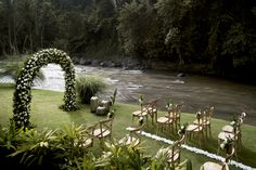 The Ayung River sets the scene for a lush wedding ceremony at Mandapa, a Ritz-Carlton Reserve.