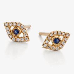 Sydney Evan Yellow Gold, Diamond, & Sapphire Evil Eye Stud Earrings