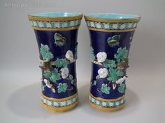 Antique Pair Holdcroft Majolica wren trumpet vases
