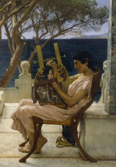 Details from Sappho and Alcaeus by Sir Lawrence Alma-Tadema 1881