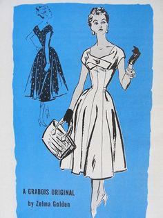 1950s BEAUTIFUL PRINCESS DRESS PATTERN UNIQUE NECKLINE PROMINENT DESIGNER PATTERNS 219