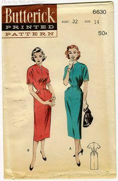 50s Sheath Dress Pattern Butterick 6630 One by VirtualVintage