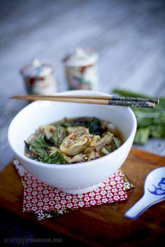 Enoki Mushroom Vegan Wonton Soup w/ Grilled Baby Bok Choy