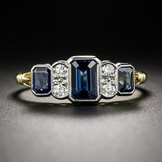 Sapphire Ring and Diamond Vintage Style Ring