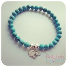 Natural Turquoise with sterling silver accents & Sterling Silver Handstamped initial tags. www.facebook.com/bellalaciinspired Hand Stamped Jewelry, Jewelry Bracelets, Jewellery, Anklets, Turquoise Bracelet, Bracelet Watch, Initials, Beaded Necklace, Sterling Silver