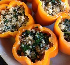 A big plate of quinoa-stuffed peppers is an easy and healthful appetizer to make ahead, before your kitchen...