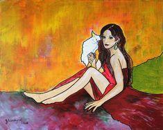 Original Women Painting by Gitta Landgraf Parrot Painting, Graf, Saatchi Art, Original Paintings, Fantasy, Disney Characters, Artist, Beautiful, Beauty