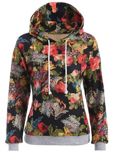 Ornate Floral Print Drawstring Hoodie in Black | Sammydress.com