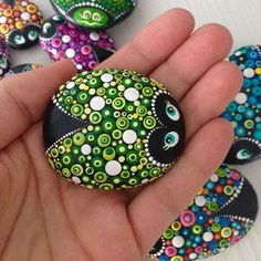 Green lucky Ladybug on a Stone, dotart painted Ladybug, painted Lady beetle, Painted rocks, garden r Dot Art Painting, Rock Painting Designs, Mandala Painting, Pebble Painting, Pebble Art, Mandala Art, Stone Painting, Dot Painting On Rocks, Stone Crafts