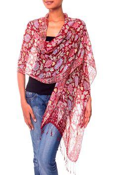NOVICA 100% Silk Batik Shawl Wrap with Red Floral Print, 'Wine Garden' (long)