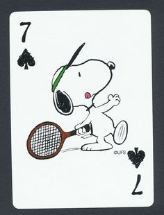Snoopy tennis doghouse Peanuts playing card single seven of spades 1 card