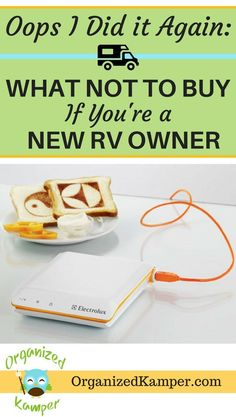 You've bought an RV...now what? Don't make these mistakes when it comes to buying items for your van, motorhome, travel trailer, or fifth wheel. These tips will help you know what you need so you can stay clutter free. This site also has lots of great hacks and space saving ideas to maximize storage space for full-time RV living or camping. #RVlife #vanlife #RVliving #camper #camping #roadtrip