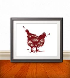Chicken Butcher Diagram Butcher Chart  Kitchen by BentonParkPrints, $12.00