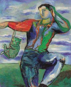 "Sandro Chia, ""SWINING THE CAT"", 2005, olio su tela, cm.162x130"