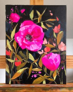 """And Shine"""" is an original painting, acrylics on stretched canvas. Signed in gold on front, full signature on back. Check my… Abstract Flowers, Acrylic Art, Anime Comics, Beautiful Paintings, Painting Inspiration, Painting & Drawing, Flower Art, Cool Art, Stretched Canvas"""