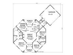 Floor Plan Hexagon House - Contemporary Home, 059H-0142