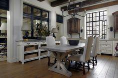Bespoke kitchen with interior shutters in black, steel windows, arhed shuttered cabinets - Bill Litchfield Designs