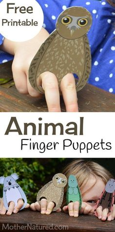 Printable Animal Finger Puppets for Kids - Mother Natured - - Free animal finger puppet printable Craft Activities, Toddler Activities, Kids Crafts, Beach Crafts, Arts And Crafts Furniture, Recycled Furniture, Handmade Furniture, Furniture Design, Printable Animals