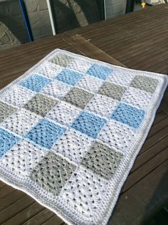 Crochet baby boy granny square blanket gingham by CrochetOutre                                                                                                                                                                                 More