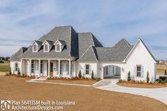 This Louisiana-style house plan features 5 bedrooms, 4 baths and showcases rustic beam work and old brick throughout many areas of the home. As you enter the foyer, the large dining room and forma Porch House Plans, New House Plans, Dream House Plans, House Floor Plans, Large House Plans, Dream Houses, 4000 Sq Ft House Plans, Brick House Plans, 6 Bedroom House Plans