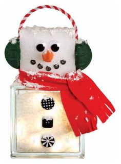 Snowman Glass Block