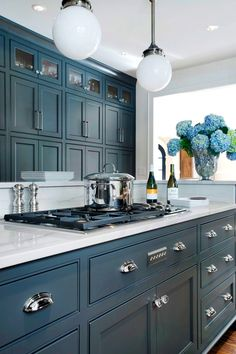 Image result for blue grey cottage kitchen cabinets