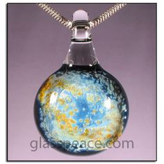 Silver and Gold Glass Galaxy Pendant  Glass Peace $20.95