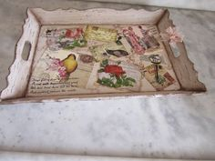 Painted Trays, Decoupage Art, Market Stalls, Bird Cage, Vintage Postcards, Bird Houses, Stencils, Diy And Crafts, Decorative Boxes