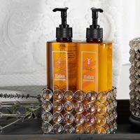 We also have 16oz Scented Hand Soaps and Hand Lotions available in 8 scents. Enriched with aloe vera, Vitamins A, E & B-5, and moisturizing oils of olive, coconut, avocado, and shea butter. Free of sulfates & parabens, not tested on animals. We also sell the Bling Brilliant Caddy you see there, other styles available. www.pinkzebrahome.com/SprinkleScentsation
