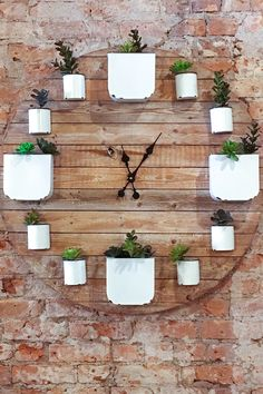 diy wall clocks 665477282420302314 - I saw this great wall clock succulent planter in a tea shop in Durango, Colorado. What a great home decor project for diy-ers!