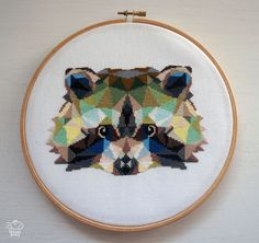 Cute Geometric Raccoon Modern Cross Stitch Pattern PDF - Instant Download. Triangle Raccoon Pattern. Geometric Animals Embroidery Pattern by VelvetPonyDesign on Etsy https://www.etsy.com/listing/451998444/cute-geometric-raccoon-modern-cross