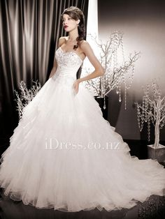 sweetheart strapless beaded bodice ruffle skirt a-line wedding dress from  idress.co. fd9c042ccb66