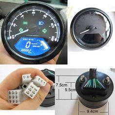 Reddragonfly - 199 km/h 12000 rpm LCD Digital Speedometer Tachometer Odometer mph / kmh for Honda Motorcycle Sctoor Golf Carts ATV