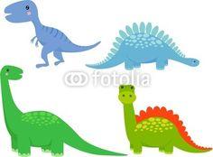Vektor: cute dinosaur vector set