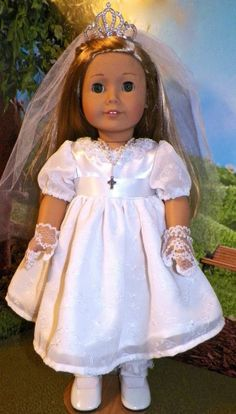 9PC 1st Communion Dress Clothes FOR ISABELLE OR  AMERICAN GIRL SIZED DOLL
