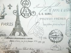 French Stamp Black on Natural Twill Drapery by FLORIDAFABRICS, $14.98
