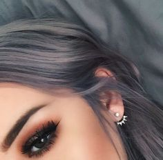 grey hair + clumpy lashes