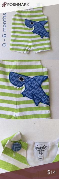 🦈🦈 Land shark!! 🦈🦈 Boutique jumpsuit for your adorable cruiser 🦈 Mud Pie One Pieces Bodysuits