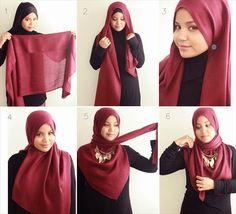 Hijab tutorial on how Aishah Amin from The Hijab Diaries wears her . Hijab how to wear hijab Square Hijab Tutorial, Simple Hijab Tutorial, Hijab Style Tutorial, Scarf Tutorial, How To Wear Hijab, Hijab Wear, Hijab Outfit, Islamic Fashion, Muslim Fashion