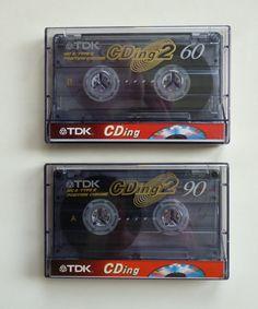 2 audio cassettes / TDK CDing 2 / 1x 60 / 1x 90 / Audiokassetten / CDing2