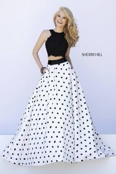 SHERRI HILL Prom Dresses 2015 # 32215 Black lace crop top slightly exposes the midriff, and a polka dotted ball gown skirt is lined with a thick black band at the waist for cohesion.