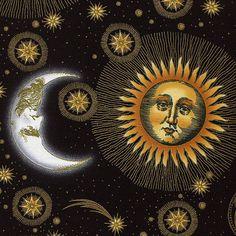 Sun and Moon Black - Celestial Collection - In the Beginning - Jason Yenter - Half Yard