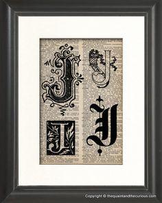 Vintage Letter J Personalized Monogram Initial by QuaintandCurious, $12.00