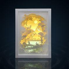 Silhouette Forest trip paper cut Light box Night by trysogodar Kirigami, Diy Arts And Crafts, Hobbies And Crafts, Lightbox Art, Diy Paper, Paper Crafts, Shadow Box Art, Paper Engineering, Paper Light