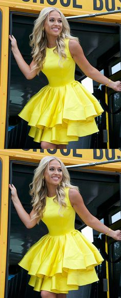 Cute A Line Round Neck Yellow Open Back Satin Sleeveless Short Homecoming Dresse. Cute A Line Round Neck Yellow Open Back Satin Sleeveless Short Homecoming Dresses Dresses Short, Long Prom Gowns, Hoco Dresses, Short Prom, Dresses With Sleeves, Simple Dresses, Mini Dresses, Formal Dresses, Yellow Homecoming Dresses